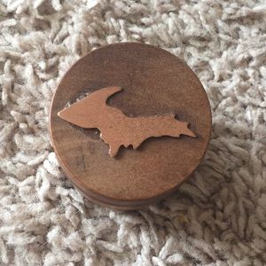 5/$20 Mini wooden rose gold Michigan trinket box